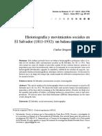 Historiografia y Movimientos Sociales en El Salvador