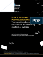 Working Paper on Learning Disabilities in India