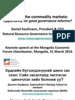Mongolia Governance Keynote Speech by Daniel Kaufmann
