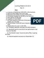 Accounting Midterm 231 Version B