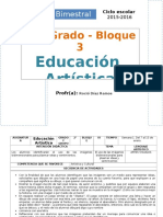 Plan 2do Grado - Bloque 3 Educación Artística