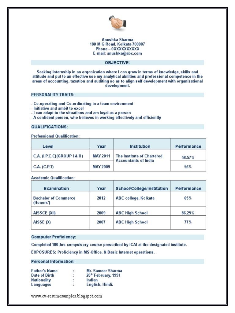 Chartered Accountant (CA) Articleship Resume Sample