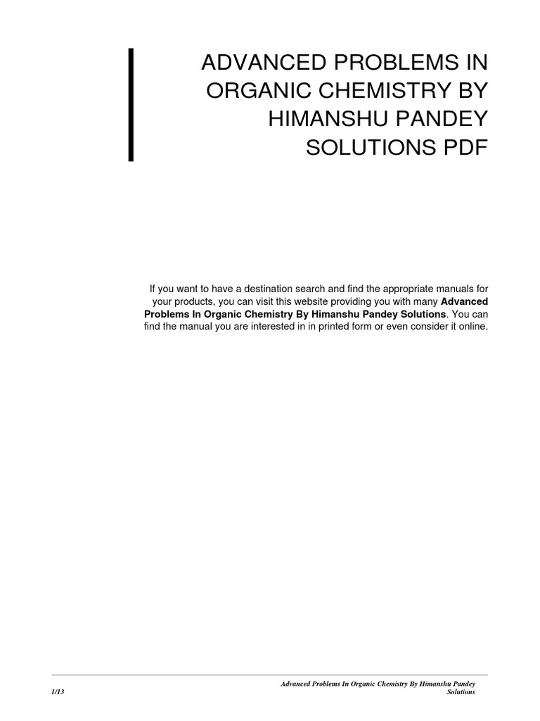 Advanced Problems in Organic Chemistry by Himanshu Pandey Solutions | E  Books | Online And Offline