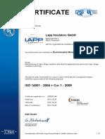 certificado de fabricación de aislador