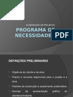 Elaboração de Projetos. Programa de Necessidades APRESENTAÇÃO