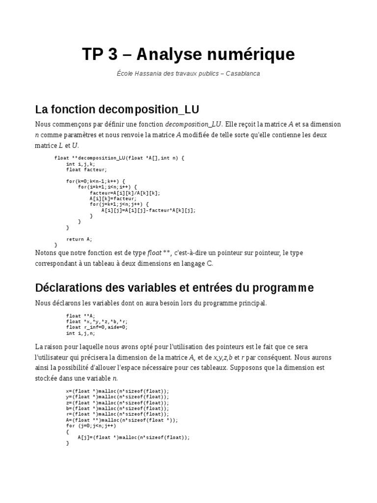 Decomposition Lu De Matrices En C