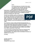 letter of recommendation for rachel neuman