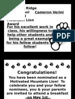 2012.13 Motivated Mountain Lion Cameron