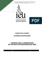 Criterios Para Presentación de Proyectos de Investigación