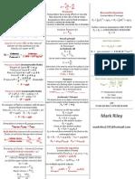 Fluids Dynamics Formula Sheet