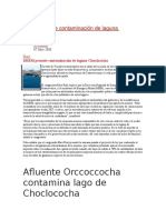 DREM Permite Contaminación de Laguna Choclococha