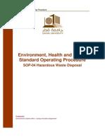 QU EHSMS Standard Operating Procedure 04 - Hazardous Waste Disposal
