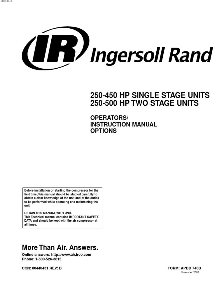 Manual de Operacion de Compresor Ingersoll Rand | Gas Compressor | Switch