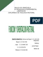 Funcion y Orientacion Pastoral