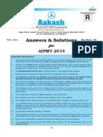 Aakash AIPMT 2014 Code R Solution