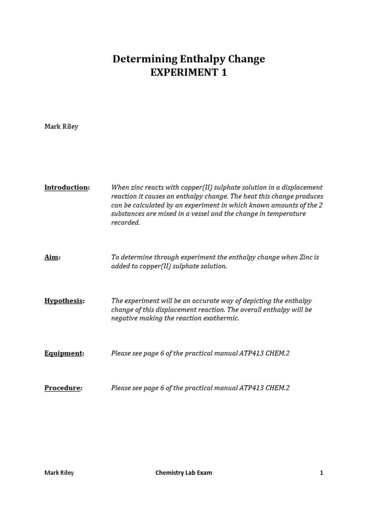 Heat & Determining Enthalpy Change (Lab Assessment) Part I