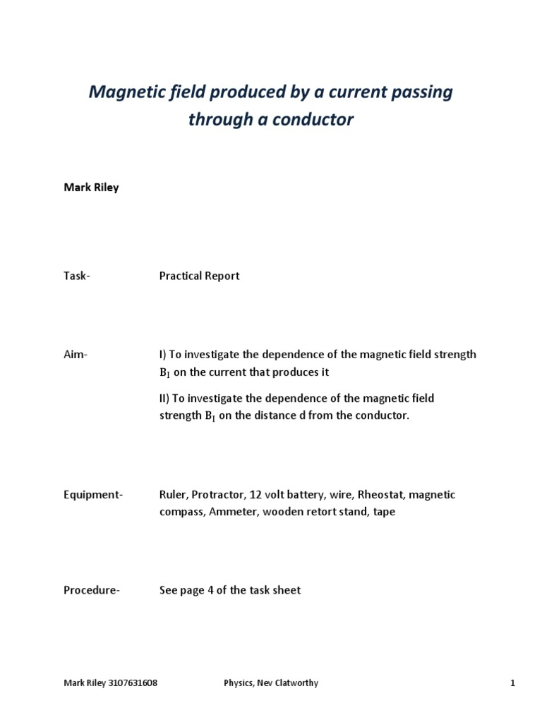 lab report magnetic field Answer to i am currently working on a lab report for magnetic fields  we first created a magnetic field and using the protons  get this answer with chegg study.