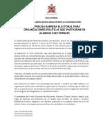JNE PRECISA BARRERA ELECTORAL PARA ORGANIZACIONES POLÍTICAS QUE PARTICIPAN EN ALIANZAS ELECTORALES