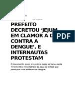 Notícia - Prefeito Decretou Jejum Municipal a Deus Contra a Dengue