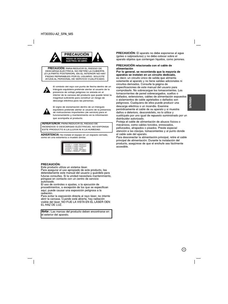 Manual de Home Theater LG Modelo Ht303su