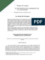 Olympe de Gouges - Déclaration Des Droits de La Femme Et de La Citoyenne