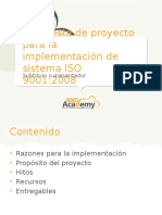 Project Proposal for ISO9001 Implementation 9001Academy ES