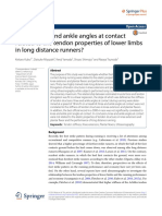 Are the Knee and Ankle Angles at Contact Related to the Tendon Properties of Lower Limbs in Long Distance Runners