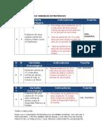 Diseño de Indicadores de Las Variables Estratégicas