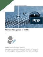 Moisture Management of Textiles