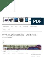 KVPY 2014 Answer Keys - Check Here