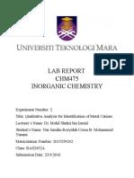 Inorganic Chemistry Exp 1