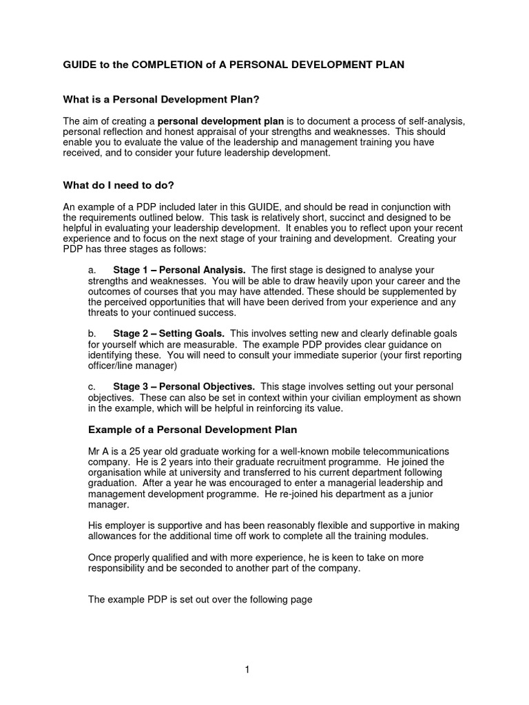 personal development plan examples for work