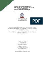 PROGRAMA DE MANTENIMIENTO  PARA EQUIPOS DE LA LINEA DE PRODUCCION DE QUESOS DE INDUSTRIAS LÁCTEAS PACOMELA
