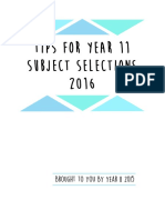 Tips for Year 11 Subject Selections 2016