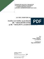 "Analiza serviciilor și produselor bancare a BC ""MOLDINDCONBANK"" și BC ""MOLDOVA AGROINDBANK"""