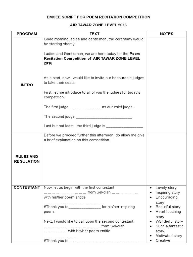 Mc Text for Poem Recitation Competition