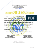 Sample certificate of employment certificate of employment jeremy yadclub Choice Image