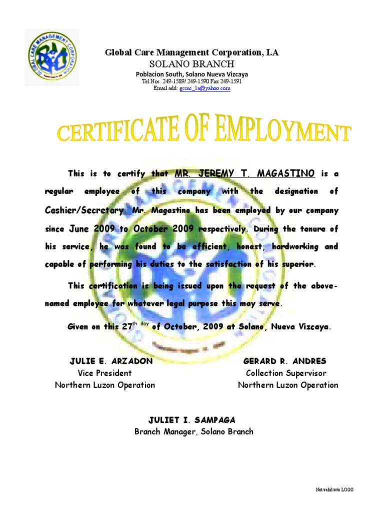 Certificate of employment jeremy yadclub Images