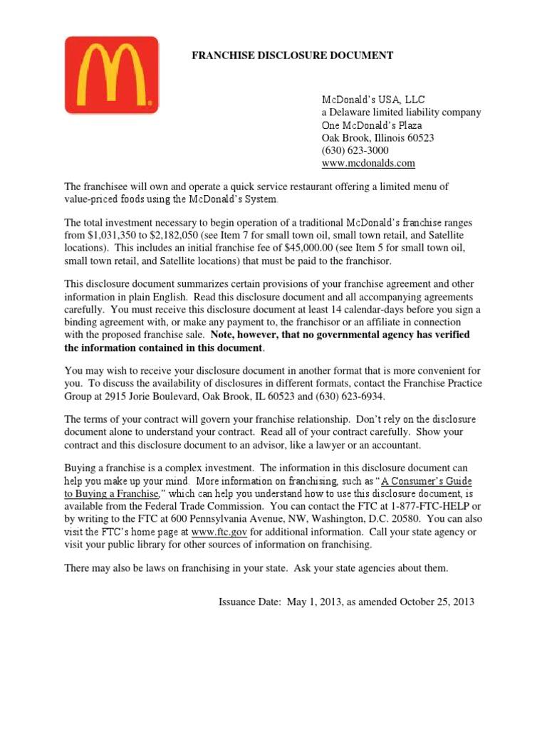 Mcd 2013 Fdd Franchising Complaint