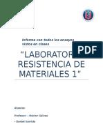 Informe Final ResisLABORATORIO RESISTENCIA DE MATERIALES 1tencia de Materiales 1