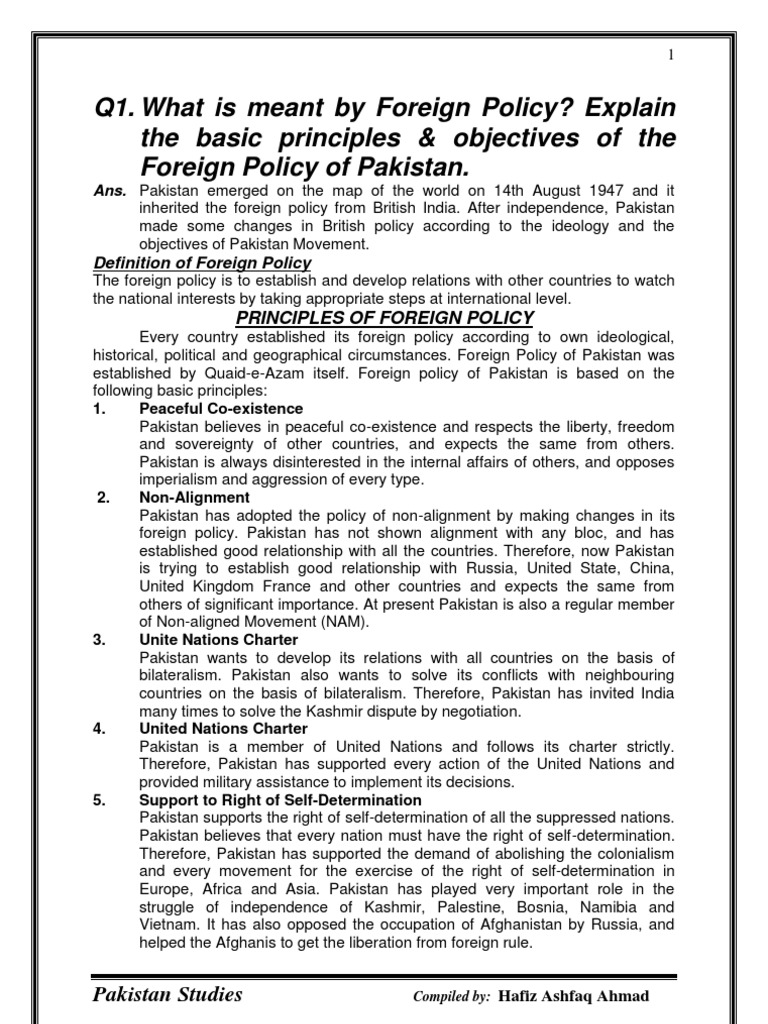 pakistan foreign policy thesis