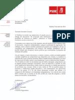 Carta del PSOE a Pablo Iglesias