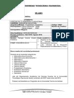 Sílabo Probabilidad y Estadistica 2016-2016 Ing. Industrial