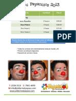 Menu de Productos y Servicios PAYANIÑOS 2013
