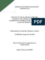 Proyecto Elaboracion Manual de Alimentos y Bebidas La Casa de Marita