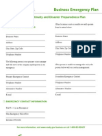 Business Emergency Plan Template