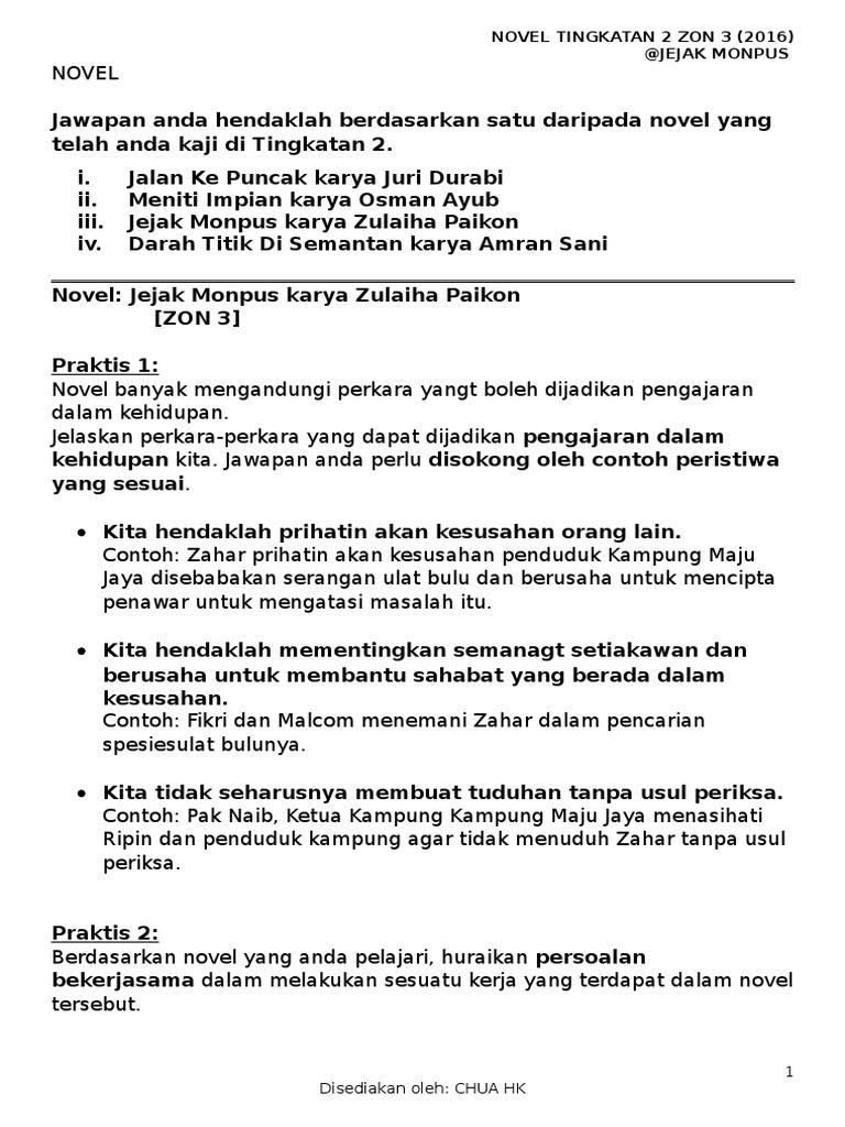 Soalan Novel Jejak Monpus Tingkatan 2 2016
