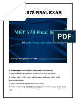 MKT 578 Final Exam Question With Answers