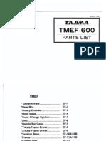 TAJIMA TMEF-600 - Parts List (1989)