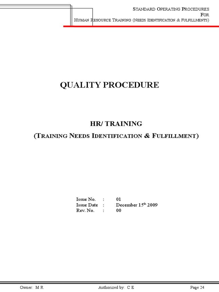 SOP-04 (HR Training Need Identification & Fulfillment) | Human